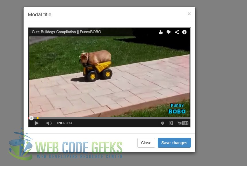 YouTube video embedded in modal