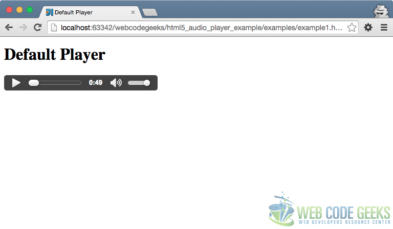 Default Audio Player on Chrome