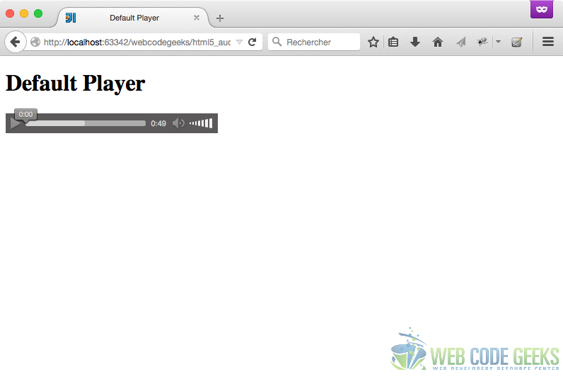 Default Audio Player on Firefox