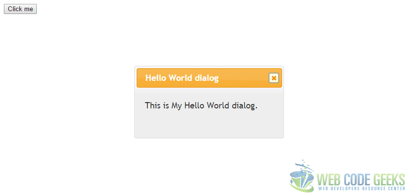 jQuery Dialog Example - Hello World