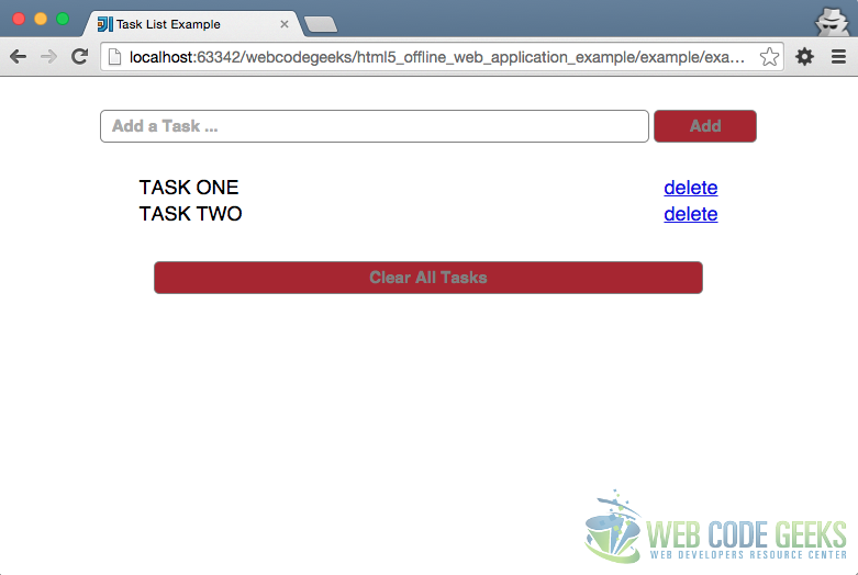 HTML5 Offline Web Application Example OffLine