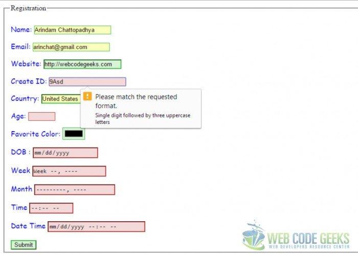 HTML5 Form Validation Pattern