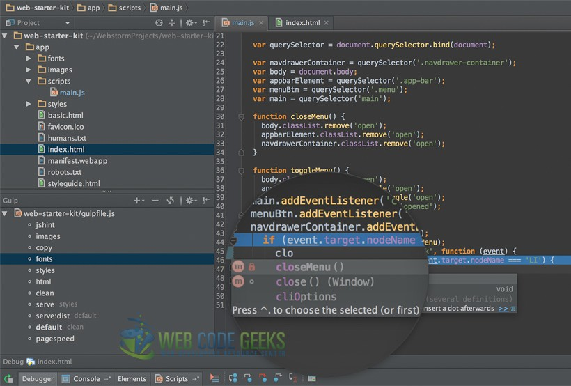 WebStorm IDE Development