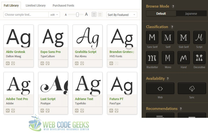 TypeKit Fonts from Adobe Development