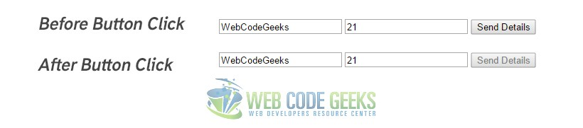 jQuery Disable Button Example | Web Code Geeks - 2017
