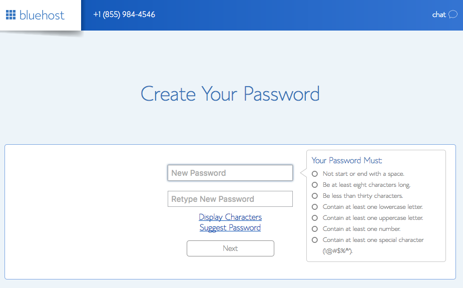 Blog with WordPress - Create your password (Second Step)