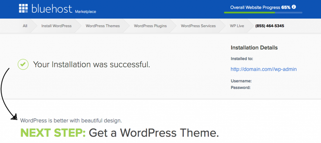 Blog with WordPress - Installation Credentials
