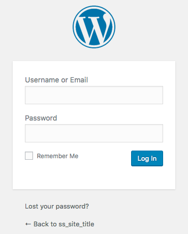 Blog with WordPress - Admin Login Page