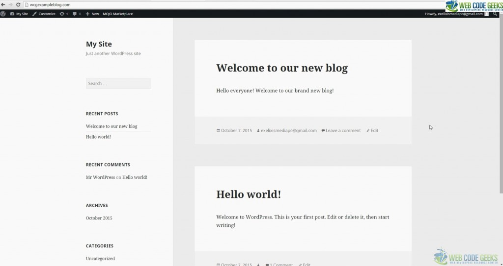 Blog with WordPress - Sample of first post