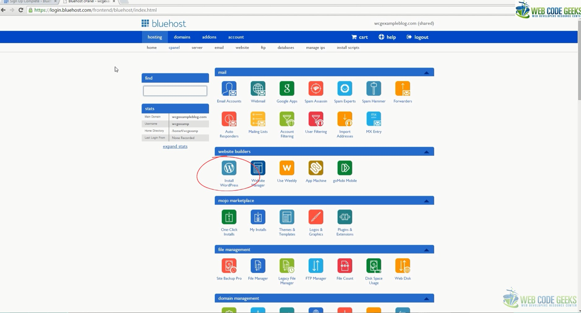 Bluehost cpanel my cool blog an error occurred xflitez Choice Image