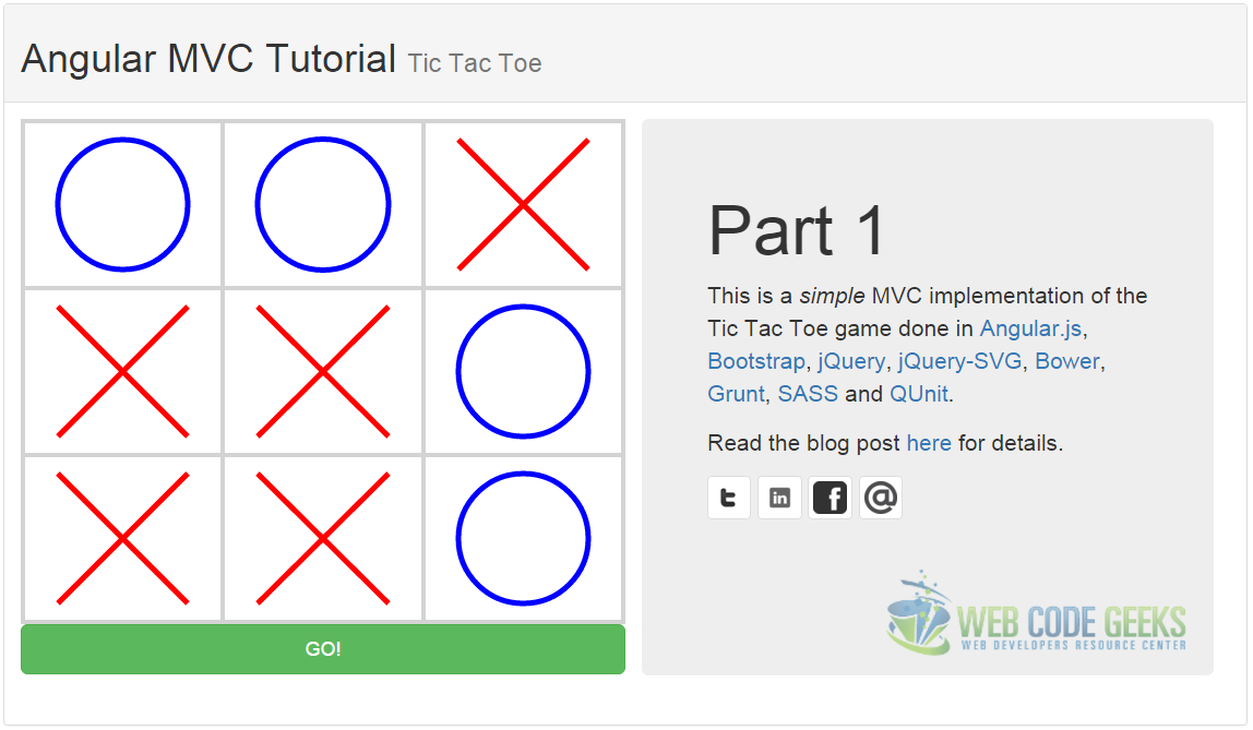AngularJS MVC tutorial tic tac toe
