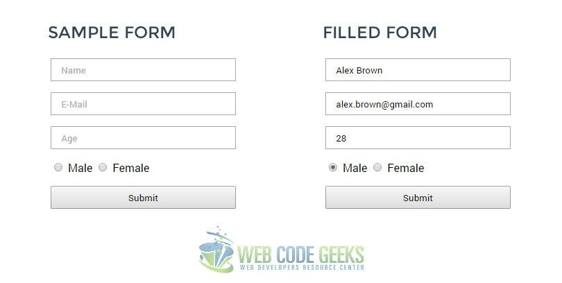 HTML form we just created