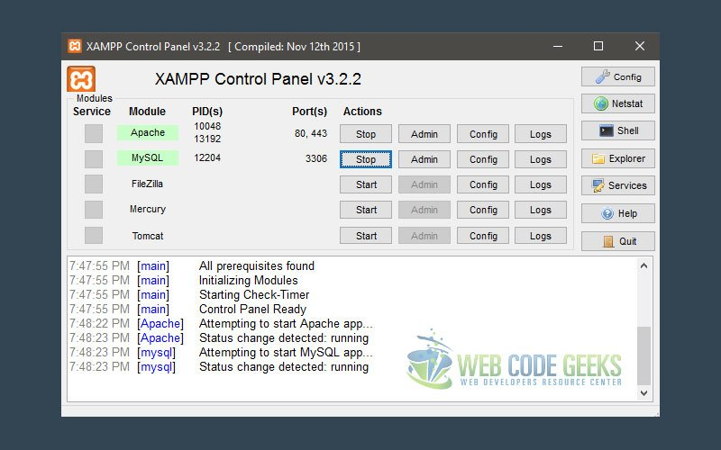 XAMPP window after a successful installation with Apache and MySQL enabled