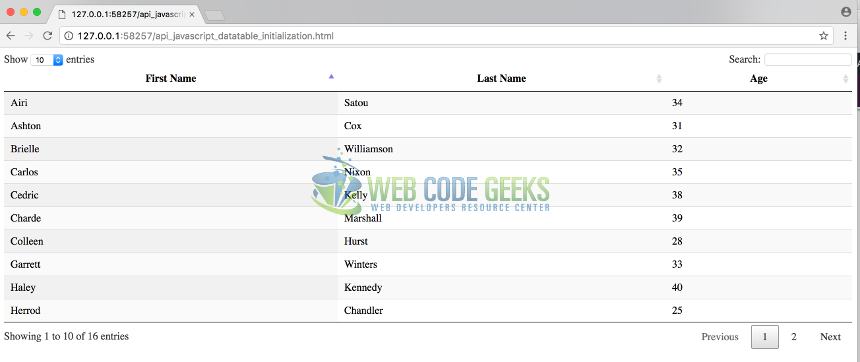 JQuery Datatable Example | Web Code Geeks - 2019