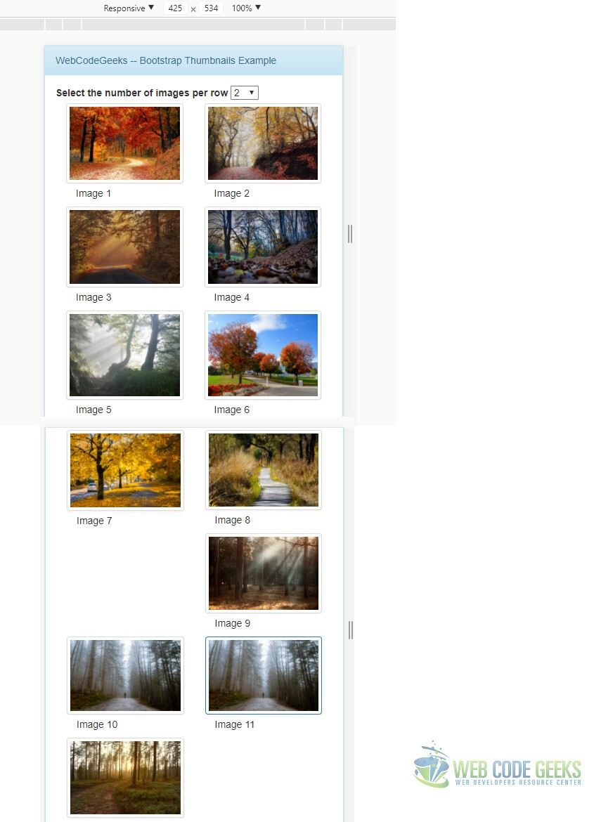Bootstrap Thumbnails Example | Web Code Geeks - 2019