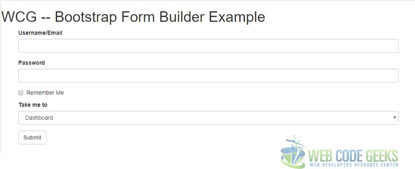 Bootstrap Form Builder Example Web Code Geeks 2018