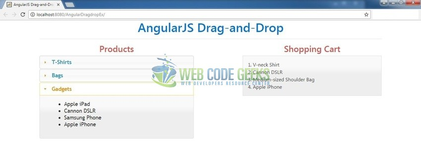 Fig. 9: A drag-and-drop feature in an Angular application