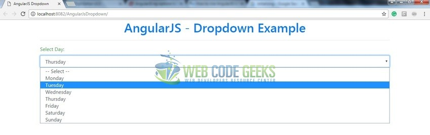 Fig. 8: Drop-down module in an Angular application