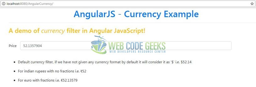 AngularJS Currency Filter - Currency filter in Angular