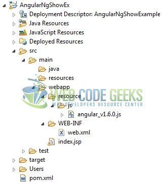 AngularJS ng-show Directive - Application Project Structure