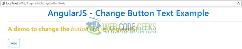 AngularJS Change Button Text - Change Button Text Example