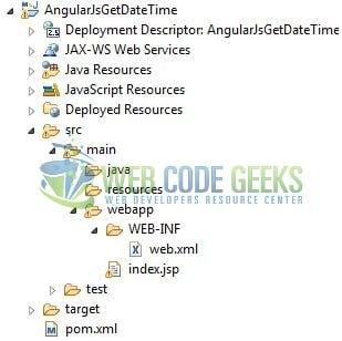AngularJS Get Current Date Time - Application Project Structure