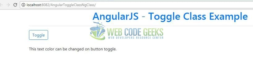 AngularJS Toggle Class using ng-class - Application Output