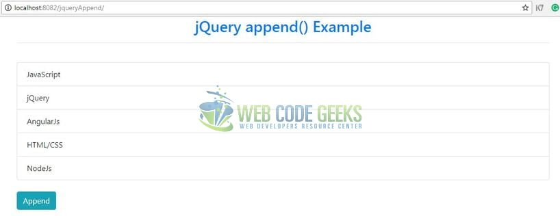 JQuery append() - Output page