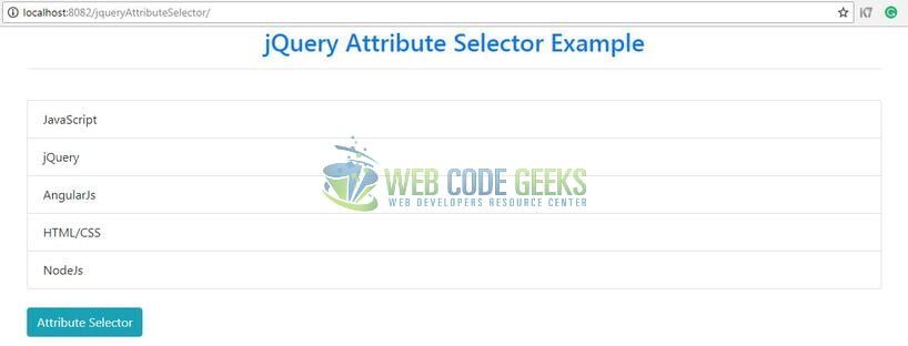 jQuery Attribute Selector - Output page