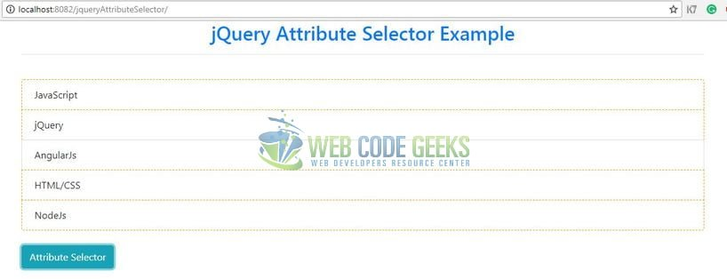 jQuery Attribute Selector - Attribute Selector