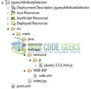 jQuery Attribute Selector - Application Project Structure