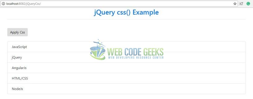 jQuery css() Method - Index page