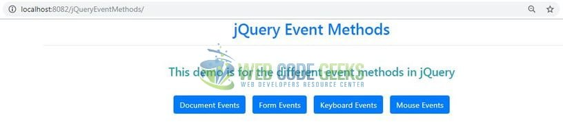 jQuery Event Methods - Index page