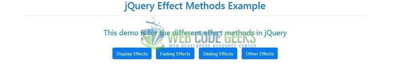 jQuery Effect Methods Example | Web Code Geeks - 2019