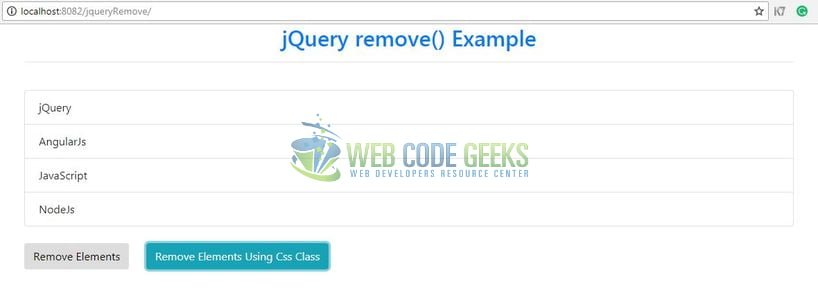 jQuery remove() - Remove filtered elements