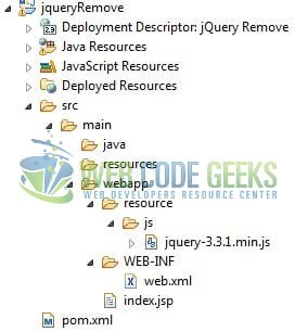 jQuery remove() - Application Project Structure