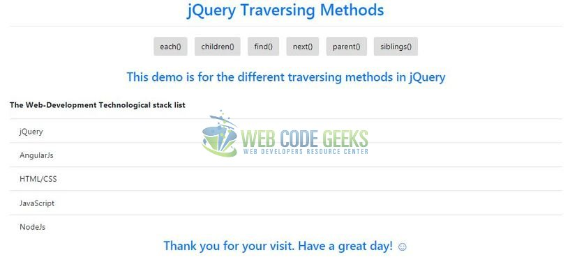 jQuery Traversing - Index page