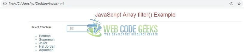 JavaScript Array filter() - Output