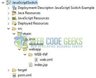 JavaScript switch - Application Project Structure