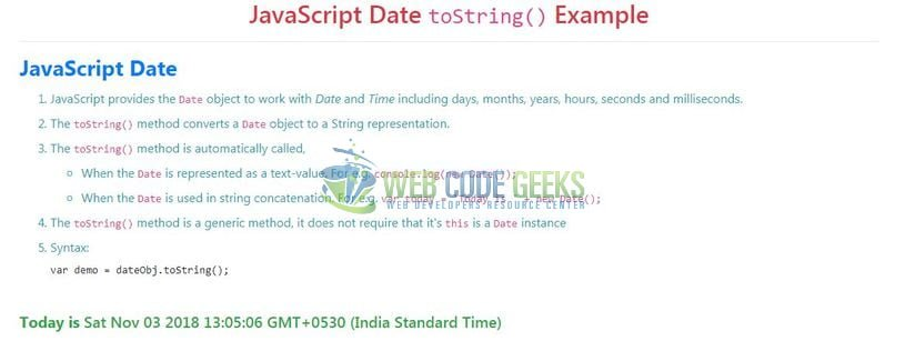 JavaScript Date toString() - Index page