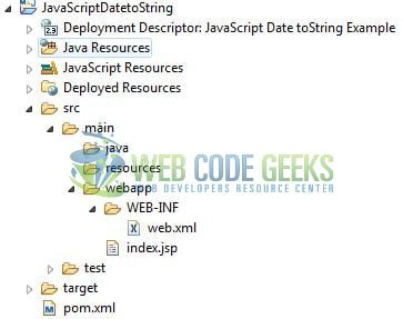 JavaScript Date toString() - Application Project Structure