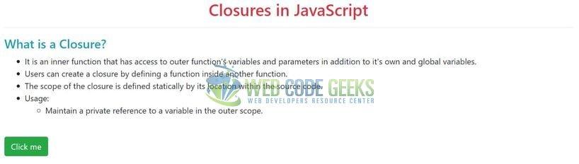 JavaScript Closures Example | Web Code Geeks - 2019