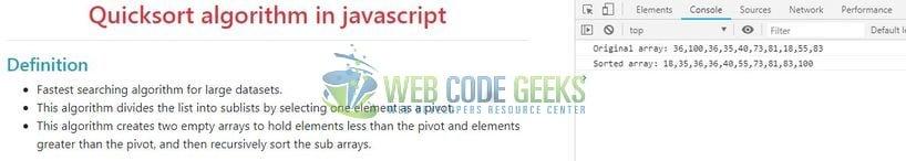JavaScript Quicksort Example | Web Code Geeks - 2019