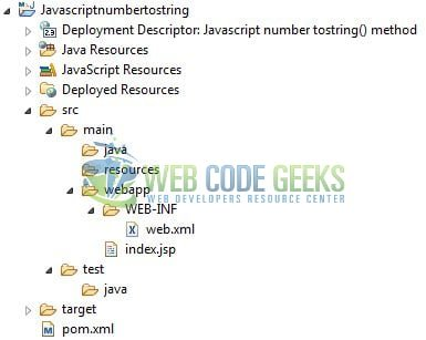 JavaScript Number toString() - Application Project Structure