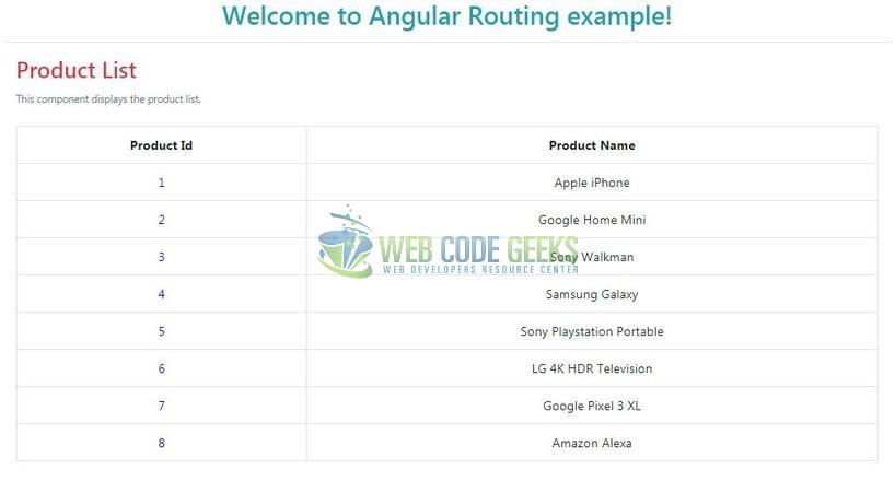 Angular 6 Routing - Product List Page