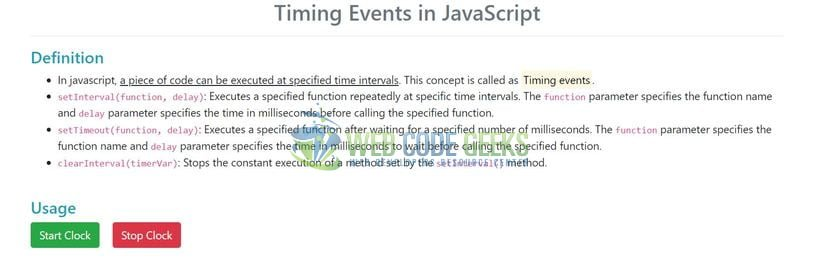JavaScript Timing Events - Index page